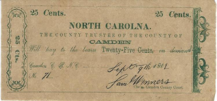 Sept 9th 1861 North Carolina Camden County .25 Cent Bearer Demand Note
