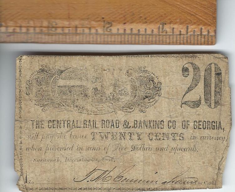 The Central Railroad & Banking Co. Of Georgia .20 Cent Demand Note Dec 19, 1861