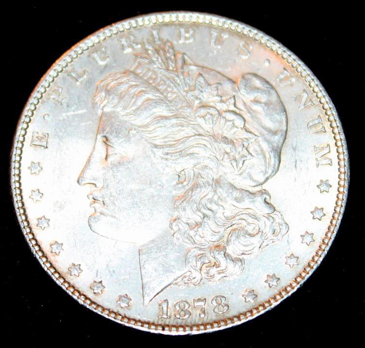 1878 Morgan Silver Dollar Coin Third Reverse EF-40 Or Better