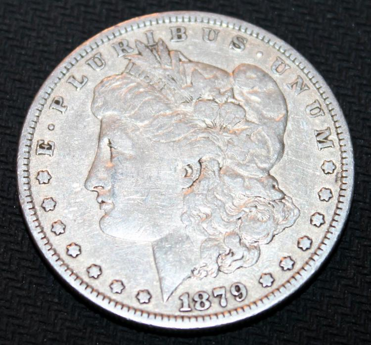 1879 Morgan Silver Dollar Coin EF-40 Or Better