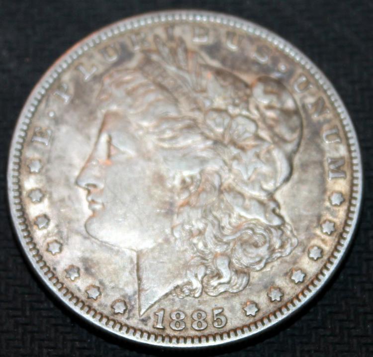 1885 Morgan Silver Collar Coin VF-20 Or Better