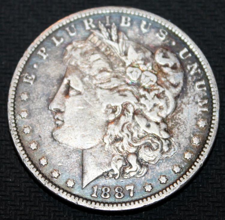 1887 Morgan Silver Dollar Coin VF-20 Or Better
