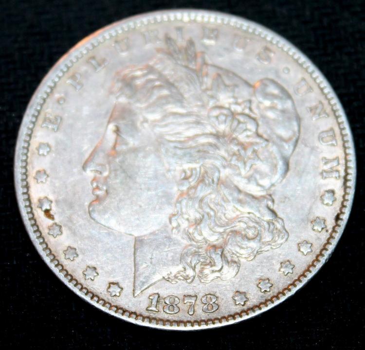 1878 Morgan Silver Dollar Coin Third Reverse VF-20 Or Better
