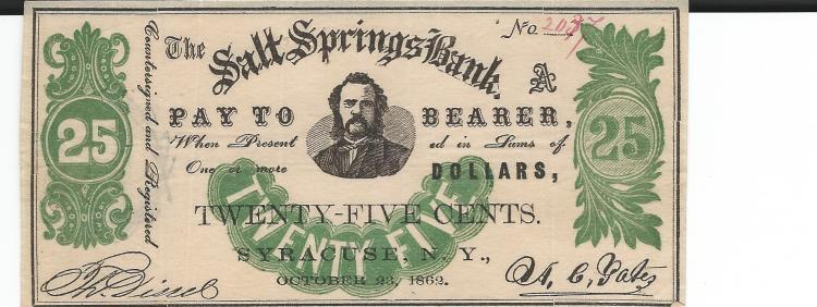 October 23rd, 1862 Salt Springs Bank Syracuse NY .25 Cent Bearer Note