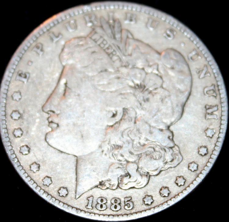 1885 Morgan Silver Dollar Coin VF-20 Or Better