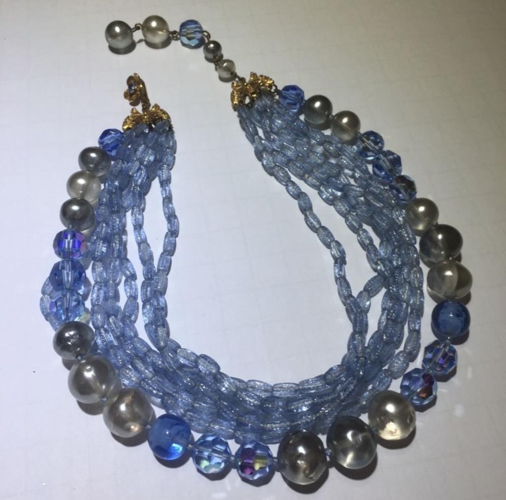 Blue Beaded Necklace Costume Jewellery