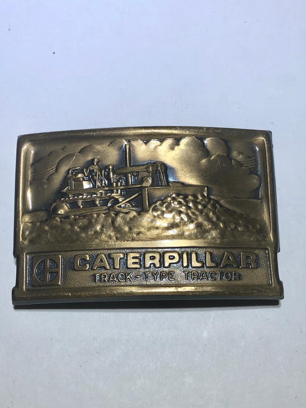 type tractor brass 3D belt buckle Leavens Mfg. Vintage Caterpillar track