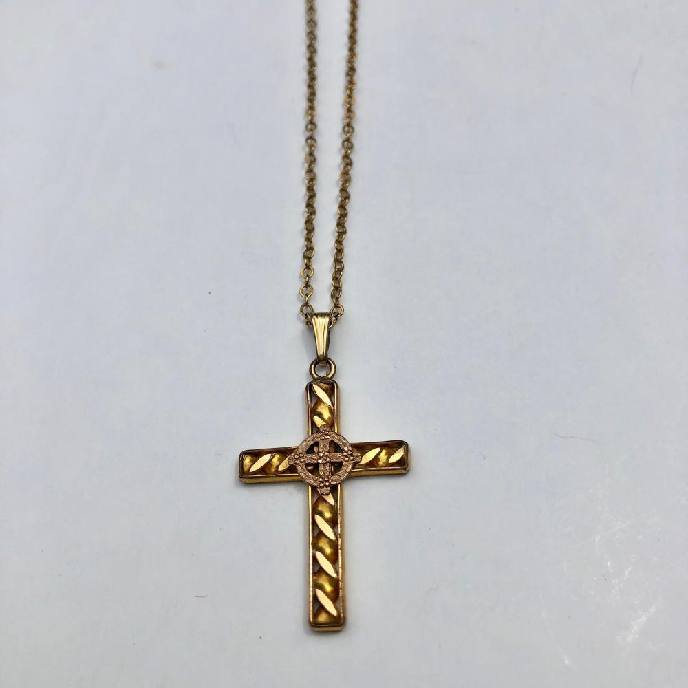 Lot 861: Gold filled vintage gold cross necklace