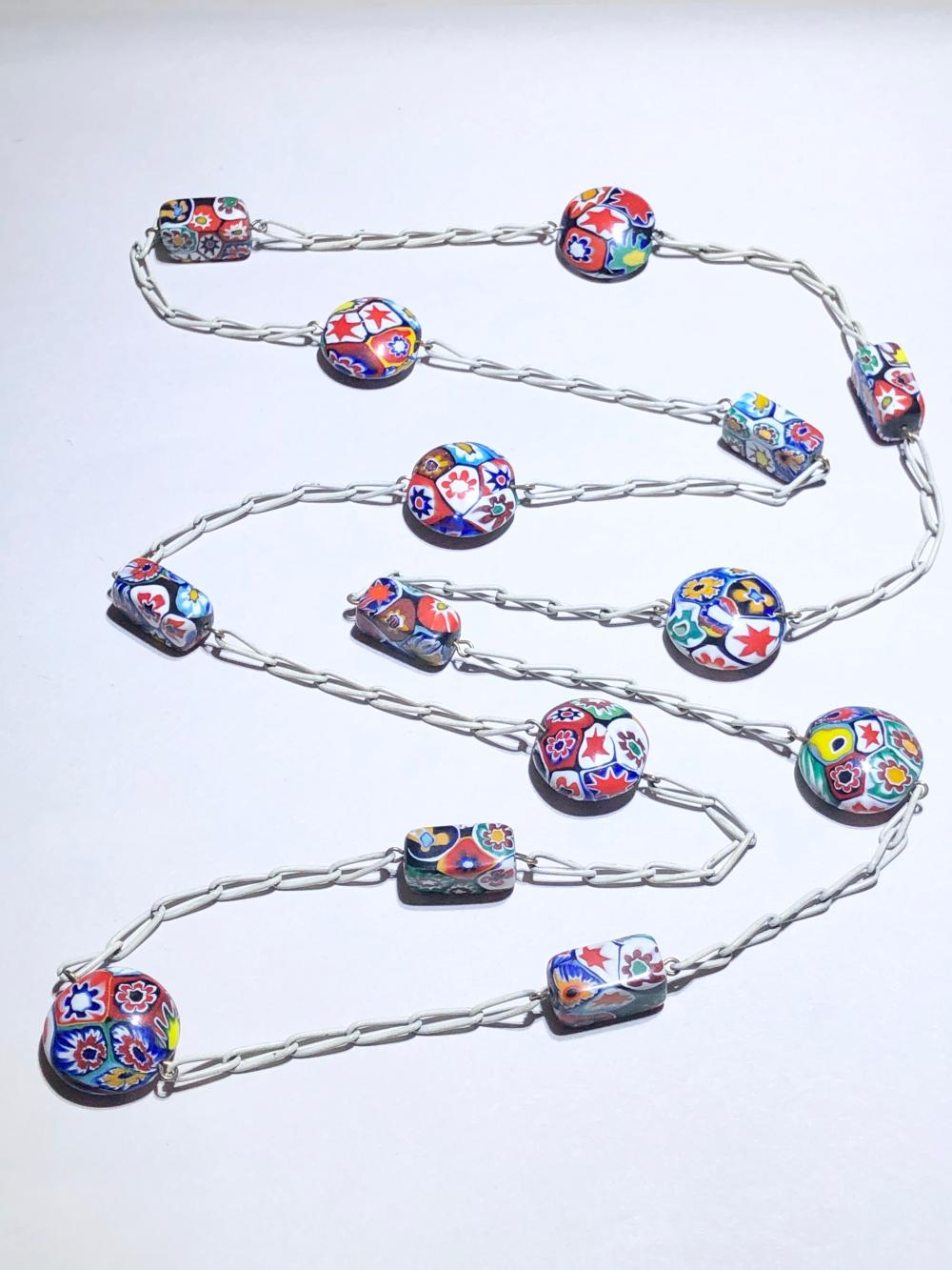 Sold Price Vintage Mid Century Venetian Murano Millefiori Art Glass Bead Necklace April 1 0120 6 15 Pm Edt