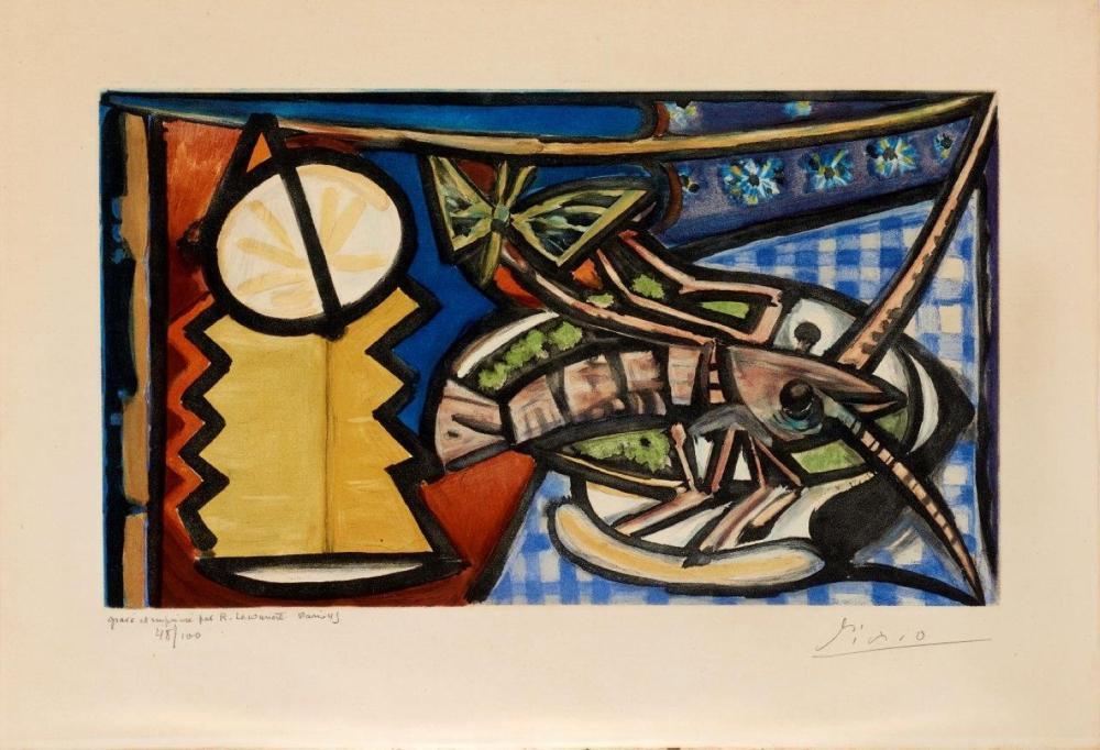 Pablo PICASSO (1881-1973) d'après Le Homard. Aquatinte en couleurs sur vergé par Roger Lacourière.
