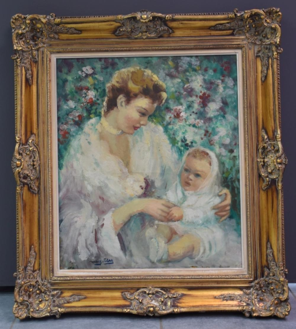 """Marguerite Aers (1918-1995). """" Maternité """" . Huile sur toile signée en bas à droite. 59 x 68 cm."""