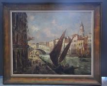 Albert ZAMARRA (1898-?) Vue du grand canal à Venise. Imposante huile sur toile, Signature. Dimensions : 79 x 99 cm.
