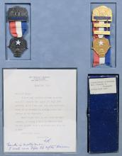 Personal Badges for the 1960 Democratic National Convention; with Typed Letter Signed