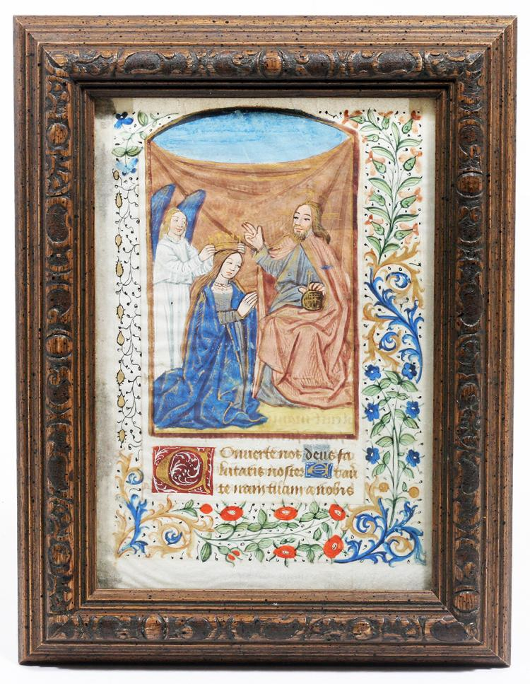 Illuminated Manuscript: Coronation of the Virgin Mary