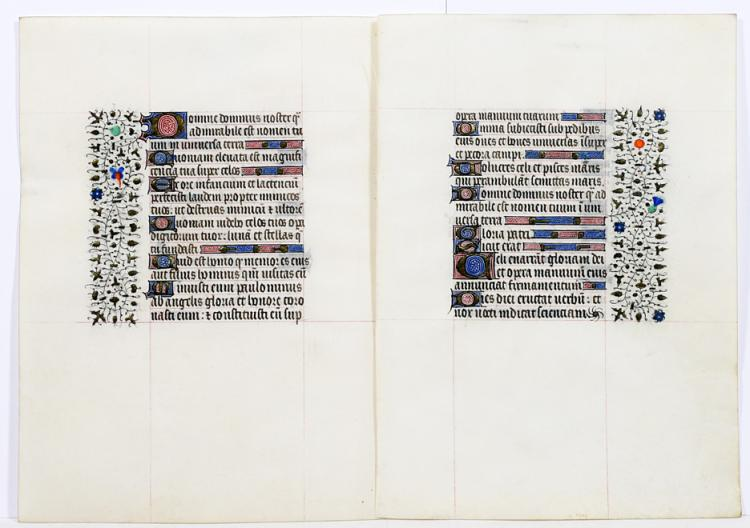 Illuminated Manuscript Leaves: Psalms 8 and 18