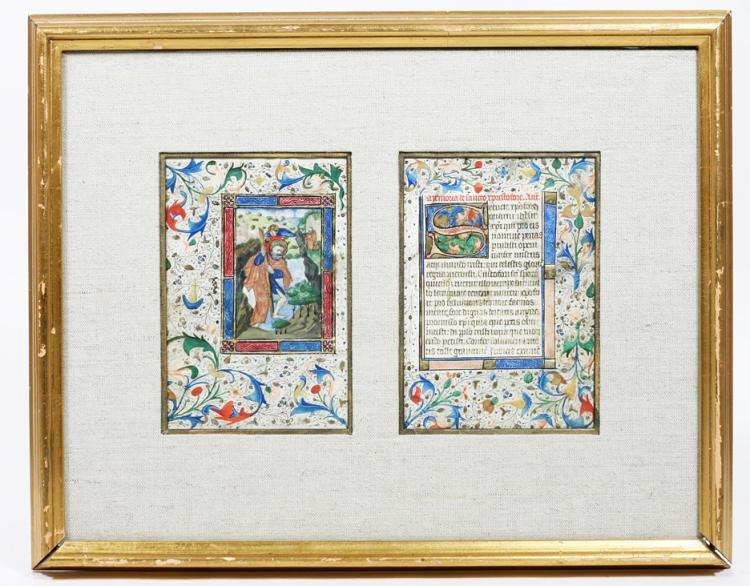 Illuminated Manuscript Leaves: Saint Christopher