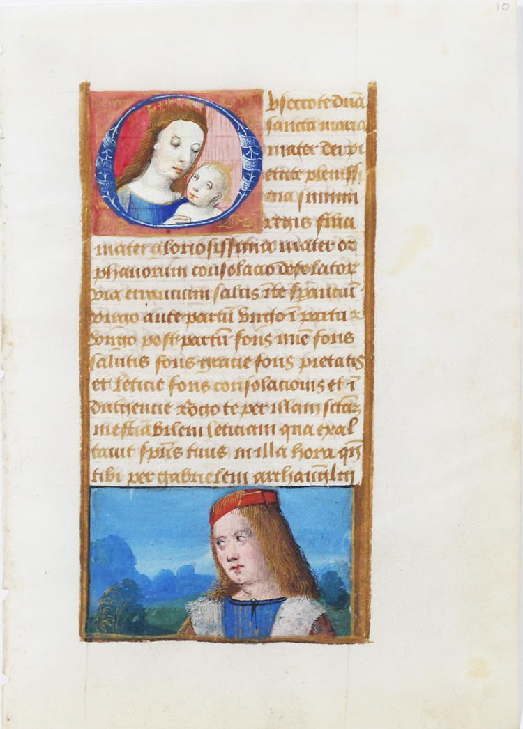 Illuminated Manuscript Leaf with Miniature of Mary
