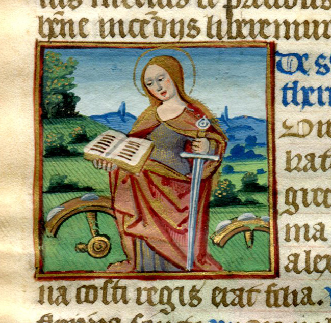 Illuminated Manuscript Leaf: Saint Catherine and Saint Barbara