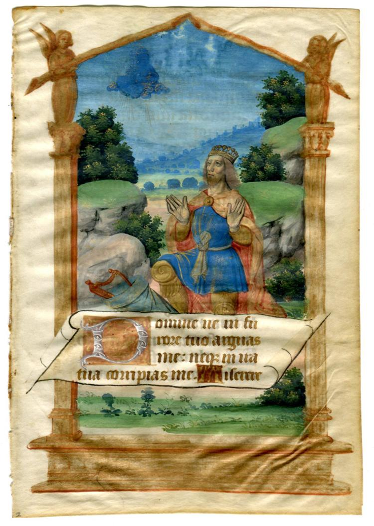 Illuminated Manuscript: King David Kneeling Before God