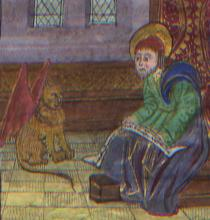 Illuminated Manuscript: Mark the Evangelist with Winged Lion form a 15th Century Book of Hours