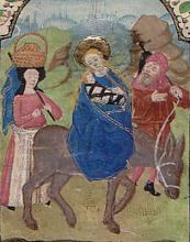 Illuminated Manuscript: Flight into Egypt from a 15th Century Book of Hours