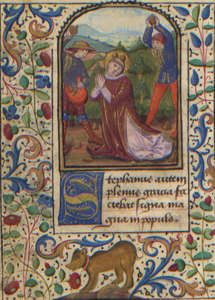 Illuminated Manuscript: The Stoning of Saint Stephen from a 15th Century Book of Hours