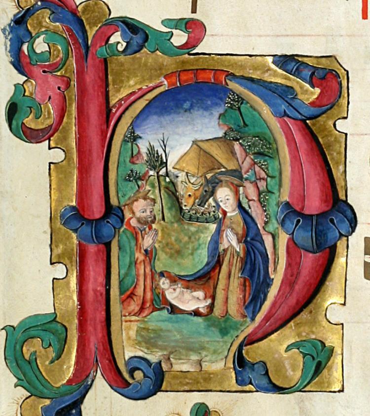 Illuminated Manuscript: Nativity Scene
