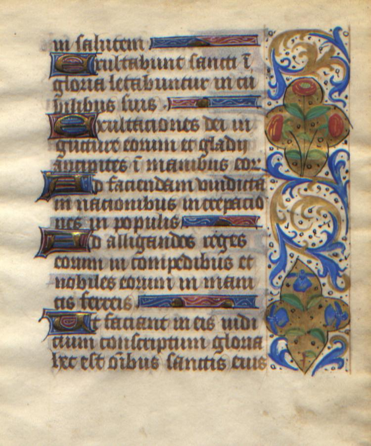Illuminated Manuscript: Psalms 149 & 150 from a 15th Century Book of Hours