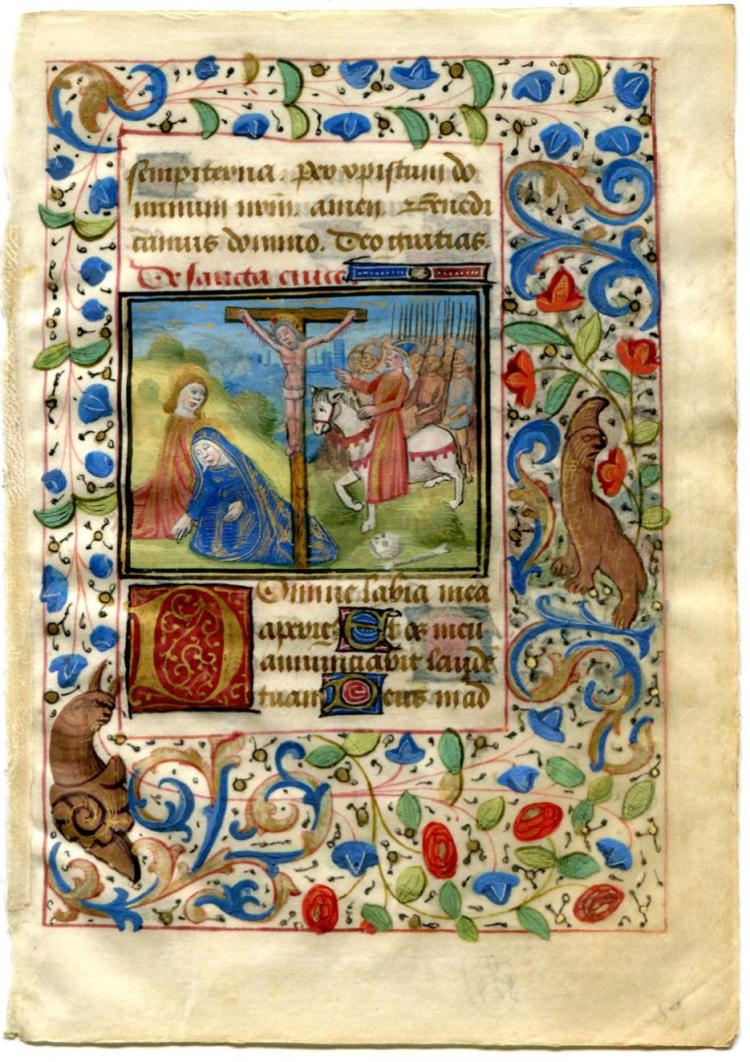 Illuminated Manuscript: Decorated Leaf with Crucifixion Scene Miniature