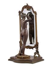Bronze Nude at Mirror by Émile Pinèdo
