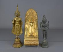 Two standing Thai Buddhas and plaque