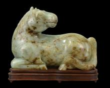 VERY LARGE MING OR LATER CELADON AND RUSSET JADE HORSE
