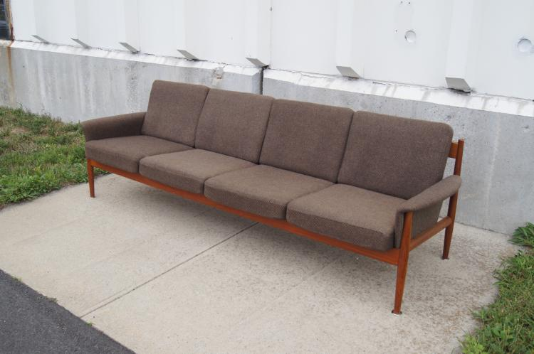 Grete Jalk for France & Sons, Rare Four-Seat Teak Sofa