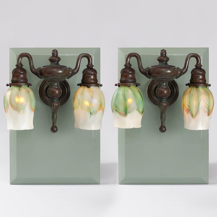 Tiffany Studios New York Double Arm Wall Sconces