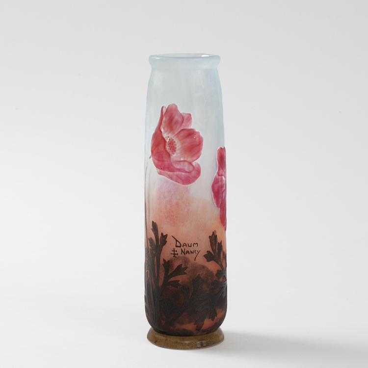 French Art Nouveau Cameo Glass Vase by Daum