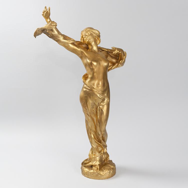 Art Nouveau Gilt Bronze Sculpture by Jul Grosjean