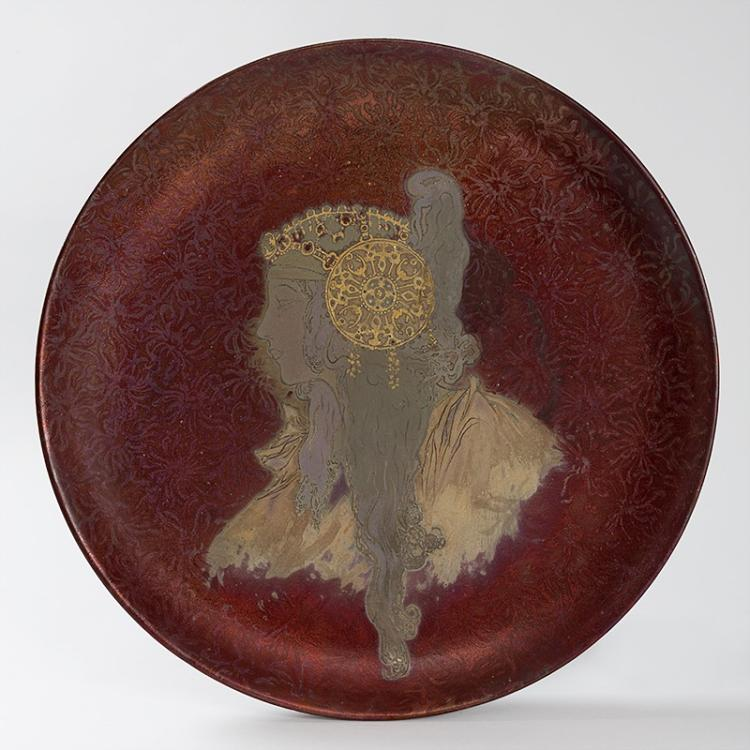 French Art Nouveau Round Ceramic Decorative Charger by Clément Massier