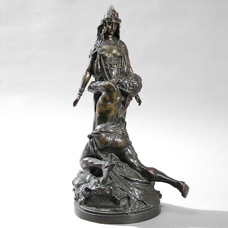 French Art Nouveau Bronze Sculpture by Rivere