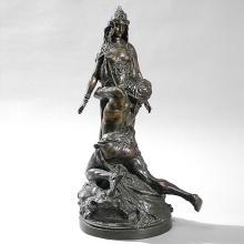 French Art Nouveau Bronze Sculpture by Rivere
