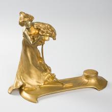 French Art Nouveau Lighted Sculpture by Korschann