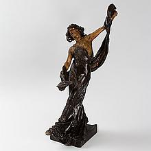 Art Nouveau Patinated Bronze Figural Sculpture by Ségoffin