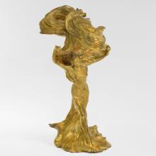 French Art Nouveau Gilt Bronze Lighted Sculpture of Loïe Fuller by Raoul Larche