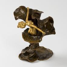 French Art Nouveau Gilt and Patinated Bronze Loïe Fuller by Chalon