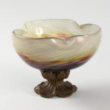 French Art Nouveau Glass and Wood Footed Bowl by Emile Gallé