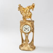 French Art Nouveau Gilt Bronze Clock by Dufrène