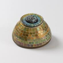 Mosaic Favrile Glass and Bronze Inkwell by Tiffany Studios New York