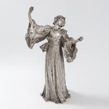 French Art Nouveau Silvered Figural Sculpture by Leonard