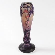 French 'Bleeding Heart', Enameled Cameo Glass Vase