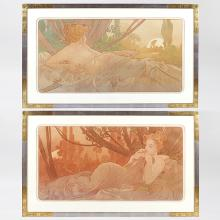 Pair of French Art Nouveau Lithographs,