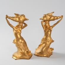 French Art Nouveau Bronze Candlesticks by Muller